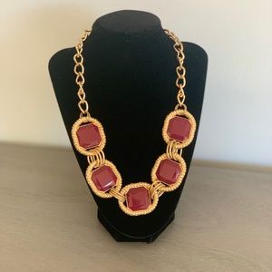 New York and Company Burgundy and Gold Necklace